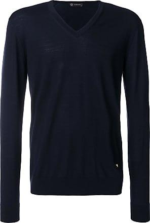 Versace Suéter slim fit gola V - Azul