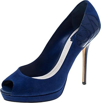 930a524bfc Dior Dior Blue Suede And Patent Leather Miss Dior Peep Toe Platform Pumps  Size 38.5