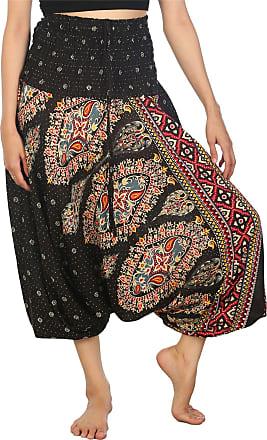 Lofbaz Womens Thai Floral Harem 2 in 1 Pants Jumpsuit Black M