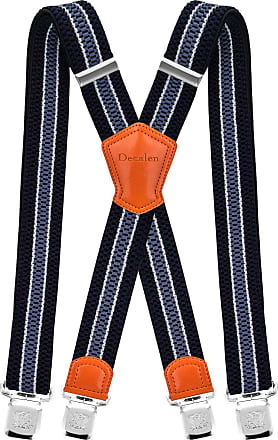 Decalen Mens Braces with Very Strong Metal Clips Wide 4 cm 1.5 inch Heavy Duty Suspenders One Size Fits All Men and Women Adjustable and Elastic X Form (Navy