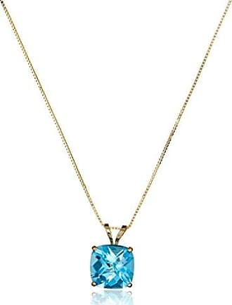 Amazon Collection 14k Yellow Gold Cushion Checkerboard Swiss Blue Topaz Pendant Necklace (8mm)