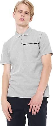 aecd4a433 Calvin Klein Jeans Camisa Polo Calvin Klein Jeans Reta Logo Cinza