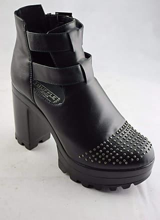 Truffle Nora Black Ankle Boots Microfiber Heels Platform Ladies Chelsea Vegan[Ladies UK 6 / EU 39]