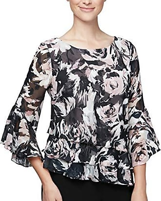 Alex Evenings Womens Plus Size Asymmetric Tiered Chiffon Blouse Shirt, Black/Rose Floral, 3X