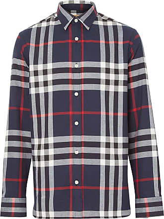 Burberry Check Cotton Flannel Shirt - Azul
