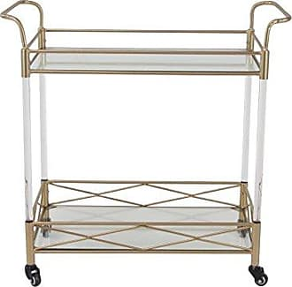 UMA Enterprises Inc. Deco 79 77601 77601 Bar Cart, Gold/White