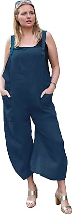 Love my Fashions Womens Button Detail Jumpsuit Ladies Plain Linen Casual Sleeveless Loose Fit Two Front Pockets Dungaree Trouser Summer Plus Size Navy Blue