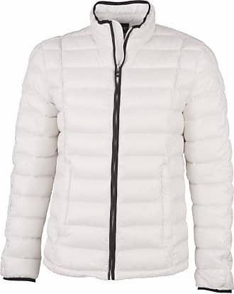 James & Nicholson Mens JN1082 Quilted Down Puffer Jacket Off-White/Black L