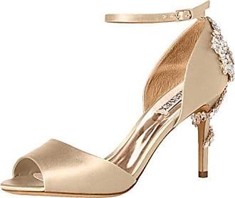 74a7e70326ef Badgley Mischka Womens Vienna Heeled Sandal Ivory Satin 6.5 M US
