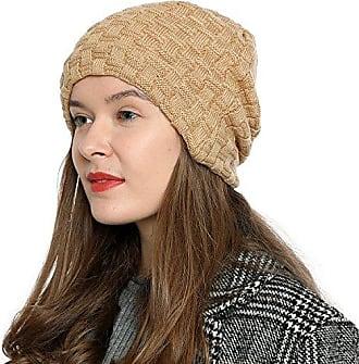 7be6e764f38151 DonDon Damen Beanie Mütze Wintermütze Slouch Style mit sehr weichem und  angenehm zu tragendem Innenfutter Hellbraun
