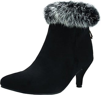 RAZAMAZA Women Fashion Kitten Heel Boots Ankle High Black Size 38 Asian