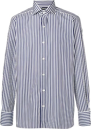 Tom Ford Camisa listrada mangas longas - Azul