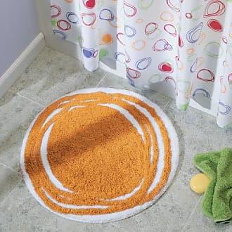 InterDesign iDesign Doodle Microfiber Round Accent Shower Rug, Bath Mat for Master, Guest, Kids Bathroom, Entryway, 24 x 24 - Orange and White