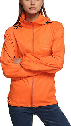 Zeagoo New fashion Waterproof Climbing Running Outdoor Hoodie Coat Sport Cycling Jacket Orange Medium