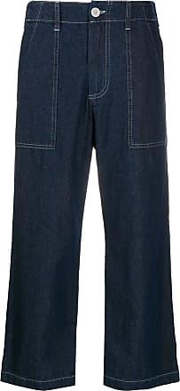 JEJIA Calça jeans cropped com detalhe pespontado - Azul