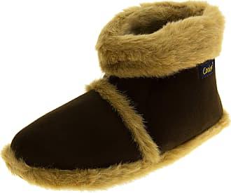 Footwear Studio Mens Coolersbrown Faux Fur Lined Faux Suede Boot Slippers UK 11-12