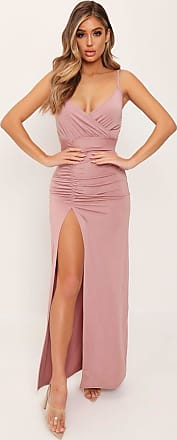 9b22b5701 I Saw It First Rose Pink Drape Plunge Slinky Maxi Dress - 10   RED