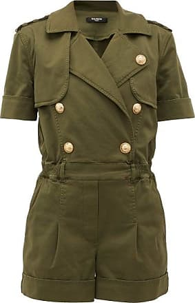 Balmain Double-breasted Cotton-blend Military Playsuit - Womens - Khaki