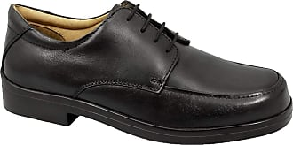 Roamers Mens Black Leather Extra Wide Fitting Lace Up Shoe - Black - size UK Mens Size 13
