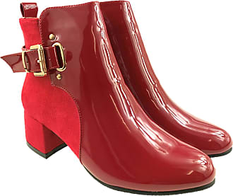 Generic Ladies Fashion Suede Faux Leather Patent Ankle Boots Side Zip Block Heel Size 3-8 (8 UK, Red)