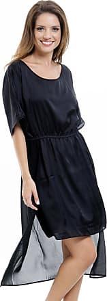 101 Resort Wear Vestido Midi Evasê 101 Resort Wear Kaftan Crepe Preto