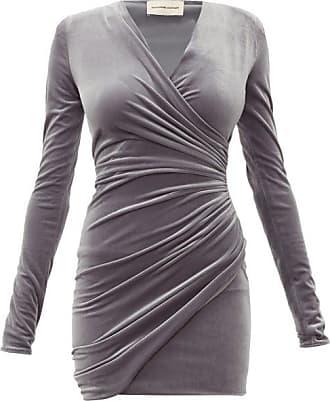 Alexandre Vauthier Draped Wrap-style Velvet Mini Dress - Womens - Grey