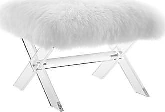 ModWay Modway EEI-2843-CLR-WHI Swift Bench Sheepskin, Clear White