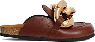 J.W.Anderson Chain-embellished Leather Mules - Womens - Tan Gold