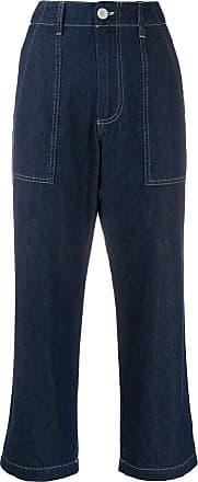 JEJIA Calça jeans cropped com cintura alta - Azul