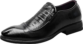 ICEGREY Mens Dress Shoes Business Cowhide Leather Breathable Casual Slip On Loafers Black,6.5