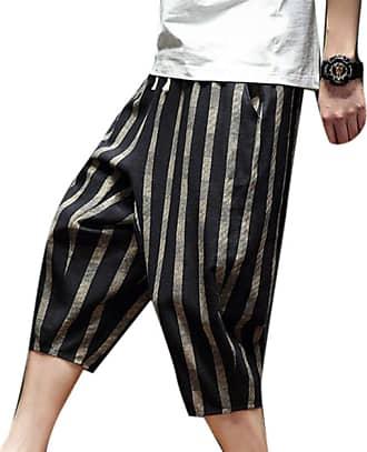 Hellomiko Mens Cropped Pants Harem Pants,Checked Streak Casual Summer Shorts Linen Trousers Khaki
