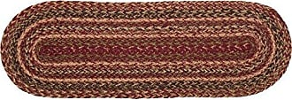 VHC Brands Burgundy Red Primitive Country Tabletop & Kitchen Cider Mill Jute Runner, 8x24