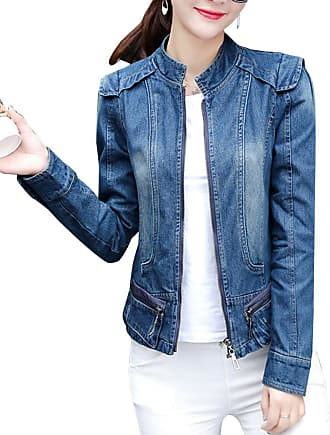 ZongSen Zip Up Denim Jacket Women Slim Fit Plain Long Sleeve Short Coat Denim Blue S