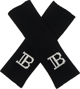 Balmain Fingerless Gloves With Logo Mens Black