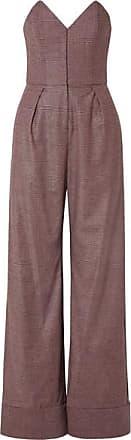 Fleur du Mal Strapless Prince Of Wales Checked Tweed Jumpsuit - Pastel pink