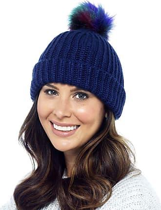 Foxbury Ladies Rib Knit Hat with Multicoloured Bobble Navy Blue