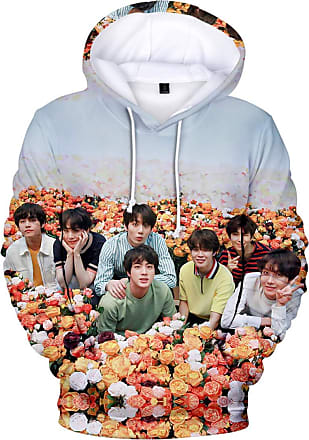 OLIPHEE EmilyLe Ladies BTS Member Portrait Sweatshirt Kpop Bangtan Boys Jin Suga J-Hope Rap Monster Jimin V Jung Kook 3D Sweaters (XXS, Team Rose)