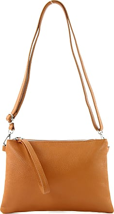 modamoda.de T186 - Italian Clutch/Shoulder Bag Leather Medium, Colour:Camel