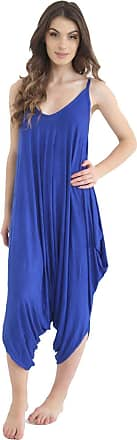 ZEE FASHION Ladies Womens Plain Ali Baba Harem Suit Cami Strappy Lagenlook Dress Oversized All in One Jumpsuit Royal Blue