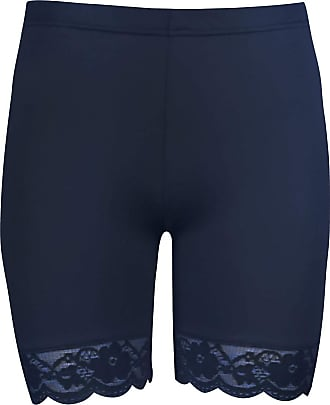 Be Jealous Oops Outlet Womens Lace Trim Jersey Gym Bike Cycling Hot Pants Tights Shorts Plus Size (US 20/22) Navy