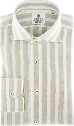 Cordone 1956 Camicia sartoriale Mod. Linen Big Stripes Beige And White - Tessuto lino - Colore beige - Taglia 36