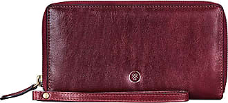 Maxwell Scott Maxwell Scott - Luxury Womens Large Full Zip Purse With Wrist Strap - The Meleto Wine