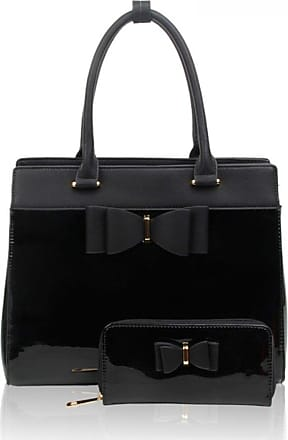 LeahWard Womens Large Bag Two In One Bow Patent Handbag With Matching Purse (BLACK BAG WITH MATCHING PURSE)
