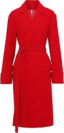 Helmut Lang Helmut Lang Woman Belted Brushed Wool Coat Red Size XS
