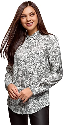 oodji Womens Straight-Fit Blouse with Chest Pocket, White, UK 12 / EU 42 / L