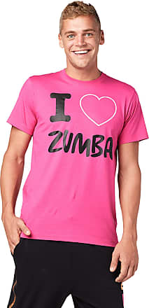 Zumba Breathable Fitness Unisex Workout Printed Graphic Tees for Women and Men, Berry, XS/S Pink