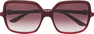 Cartier Óculos de sol uadrado C Décor - Vermelho