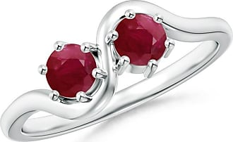 Angara Valentine Day Sale - Round Two Stone Twist Ruby Ring