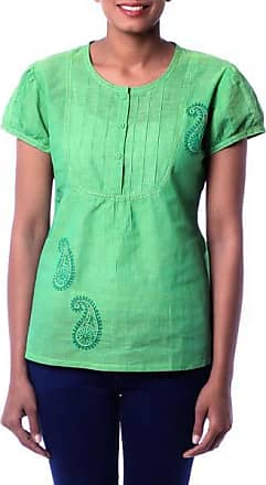 Novica Cotton blouse, Feminine Lime