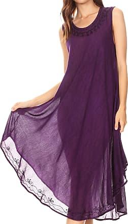 Sakkas 19329 - Milly Womens Midi Loose Casual Summer Sleeveless Dress Sundress Cover-up - 19308-Purple - OS